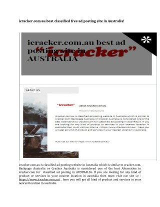 icracker.com.au best classified free ad posting site in Australia!