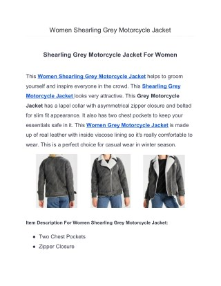 Women Shearling Grey Motorcycle Jacke