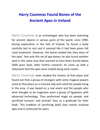 Harry Coumnas Found Bones of the Ancient Apes in Ireland