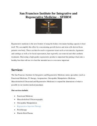 San Francisco Institute for Integrative and Regenerative Medicine - SFIIRM