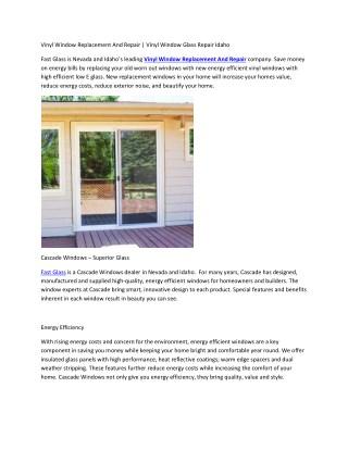Vinyl Window Replacement And Repair | Vinyl Window Glass Repair Idaho
