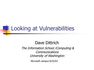 Looking at Vulnerabilities