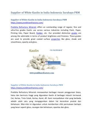 Supplier of White Kaolin in India Indonesia Surabaya PRM