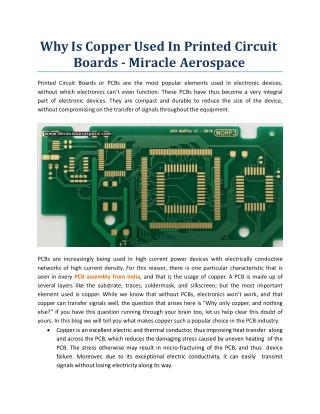 Why Is Copper Used In Printed Circuit Boards? Miracle Aerospace