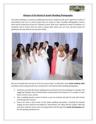 Glimpse of the World of Jewish Wedding Photography