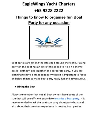 Boat Party in Singapore can be fun with these tips!!!!