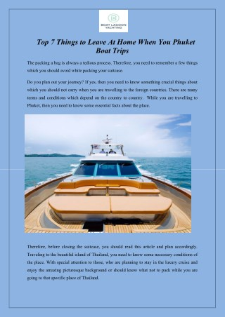 Top 7 Things to Leave At Home When You Phuket Boat Trips