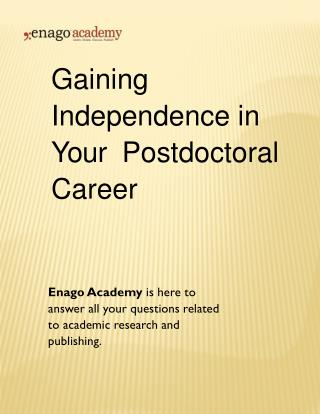 Gaining Independence in Your Postdoctoral Career