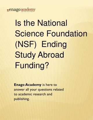 Is the National Science Foundation (NSF) Ending Study Abroad Funding