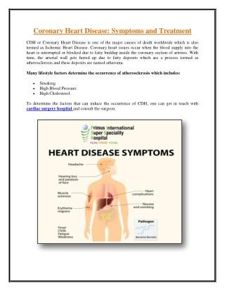 Coronary Heart Disease: Symptoms and Treatment