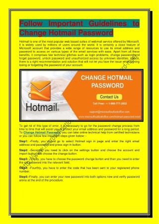 Follow Important Guidelines to Change Hotmail Password