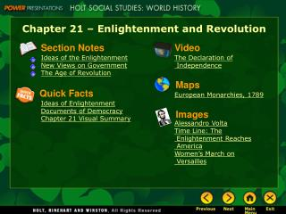 Chapter 21 – Enlightenment and Revolution