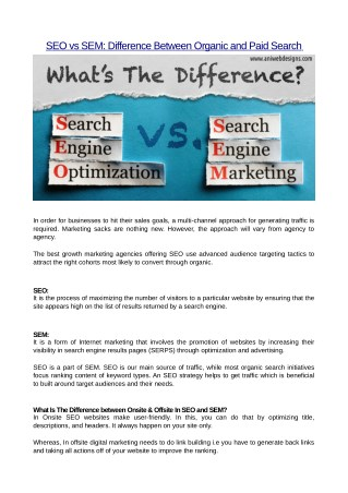 SEO vs SEM: Difference Between Organic and Paid Search