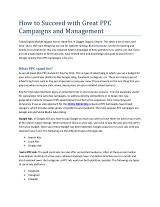 How to Succeed with Great PPC Campaigns and Management - Sochtek