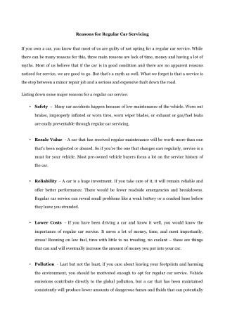 Reasons for Regular Car Servicing