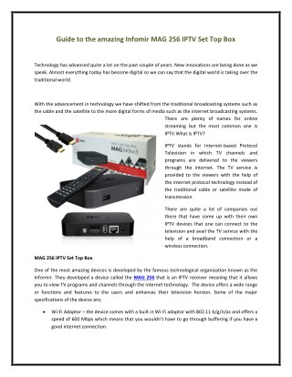 Guide to the amazing Infomir MAG 256 IPTV Set Top Box
