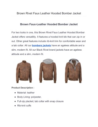 Brown Rivet Faux Leather Hooded Bomber Jacket