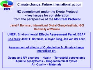 NZ commitment under the Kyoto Protocol    key issues for consideration  from the perspective of the Montreal Protocol
