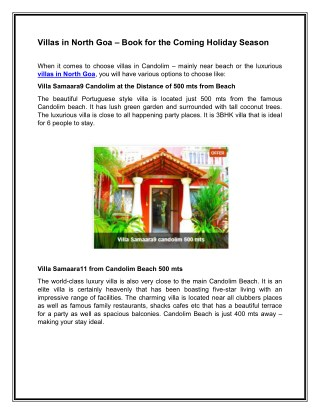Villas in North Goa – Book for the Coming Holiday Season
