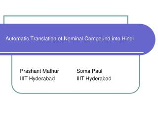 Automatic Translation of Nominal Compound into Hindi