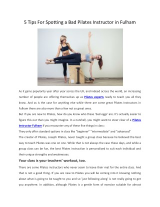 5 Tips For Spotting a Bad Pilates Instructor in Fulham - La Dolce Studio