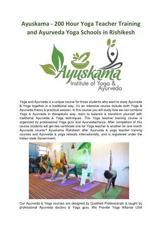 Ayuskama - 200 Hour Yoga Teacher Training and Ayurveda Yoga Schools in Rishikesh