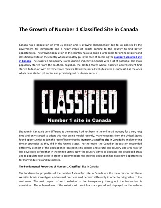 The Growth of Number 1 Classified Site in Canada