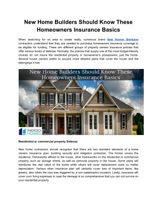 New Home Builders Should Know These Homeowners Insurance Basics