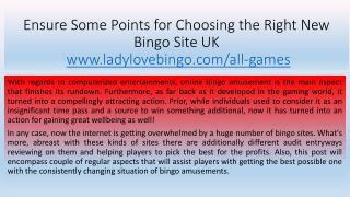 Ensure Some Points for Choosing the Right New Bingo Site UK