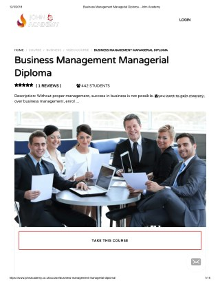 Business Management Managerial Diploma - John Academy