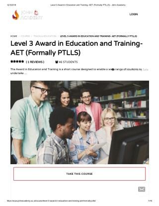 Level 3 Award in Education and Training - John Academy