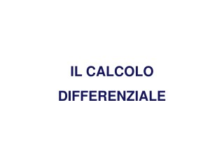 Calcolo differenziale 2018