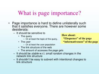 What is page importance?