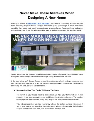 Never Make These Mistakes When Designing A New Home
