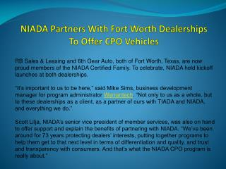 NIADA Partners With Fort Worth Dealerships To Offer CPO Vehicles