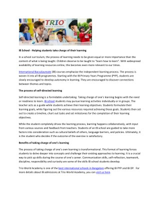 IB School - Helping students take charge of their learning