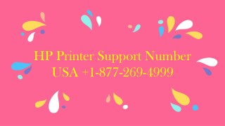 HP Printer Issues Solution USA  1-877-269-4999