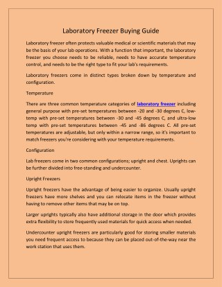 Laboratory Freezer Buying Guide