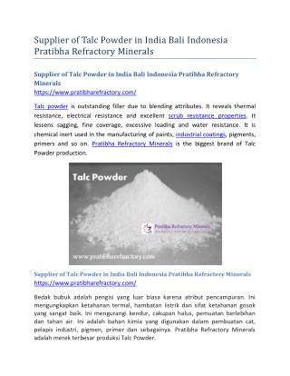 Supplier of Talc Powder in India Bali Indonesia Pratibha Refractory Minerals