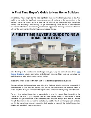 A First Time Buyer's Guide to New Home Builders