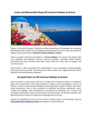 Cheap All Inclusive Holidays to Greece   Greece Holidays 2018/2019