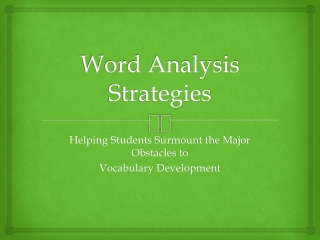 Word Analysis Strategies