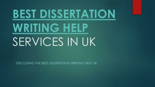BEST DISSERTATION WRITING HELP SERVICES IN UK