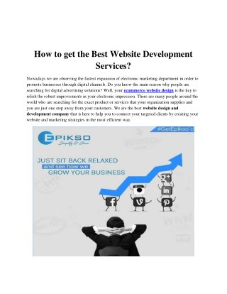 How to get the Best Website Development Services?