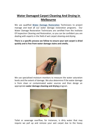 Water Damaged Carpet Cleaning And Drying in Melbourne