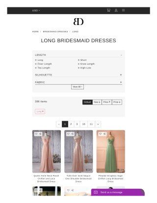Shop Long Bridesmaid Dresses Online