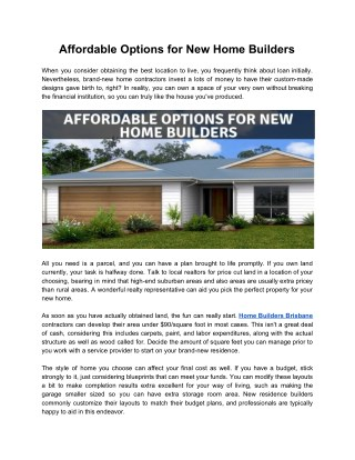 Affordable Options for New Home Builders