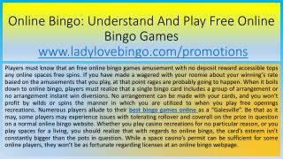 Online Bingo: Understand And Play Free Online Bingo Games