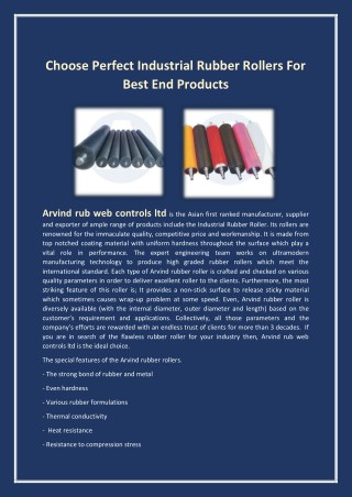 Choose perfect industrial rubber rollers for best end products