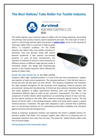 The Best Hollow/ Tube Roller For Textile Industry